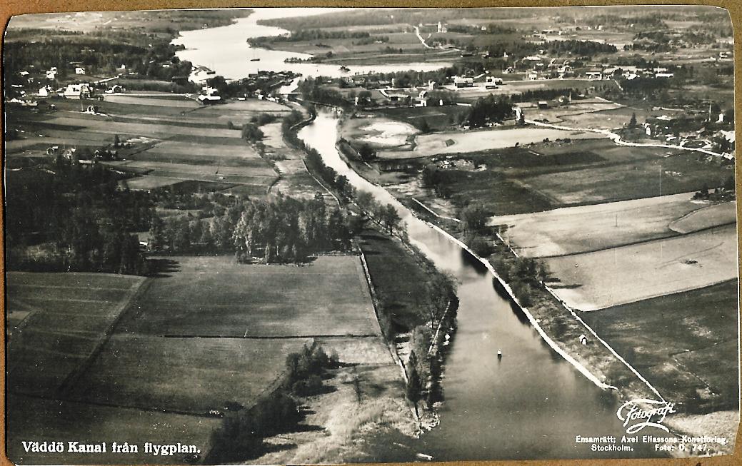 Flygbild Väddö kanal 1930-tal