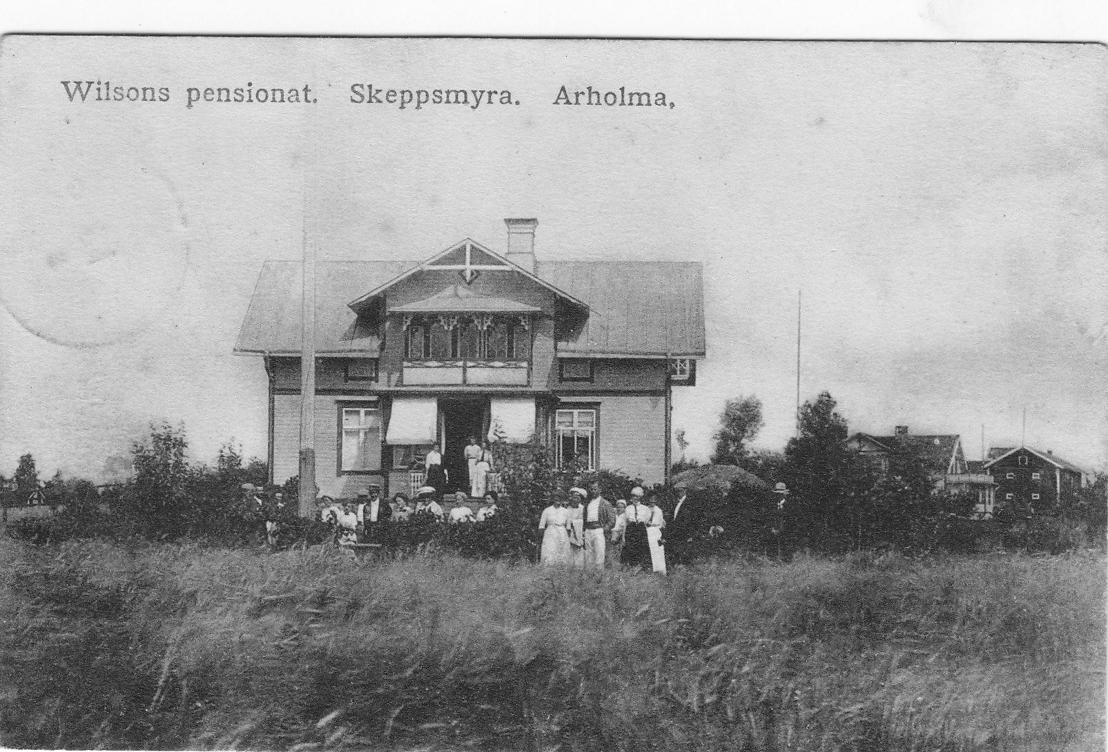 Skeppsmyra. Wilssons pensionat. Kortet skrivet 1 maj 1919